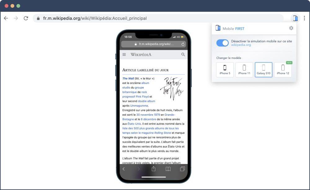 Capture écran simulateur mobile pour tester version mobile d'un site